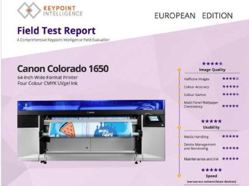 "Canon Colorado 1650 behaalt uitstekende resultaten in de ""Keypoint Intelligence Field Test"""